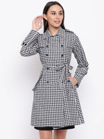 Cotton black and white gingham check single layered trench coat-Trench Coat-Fabnest