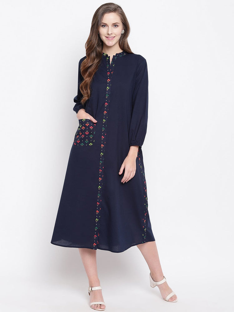 Fabnest womens indigo cotton dress/kurta with print inserts-Dress-Fabnest
