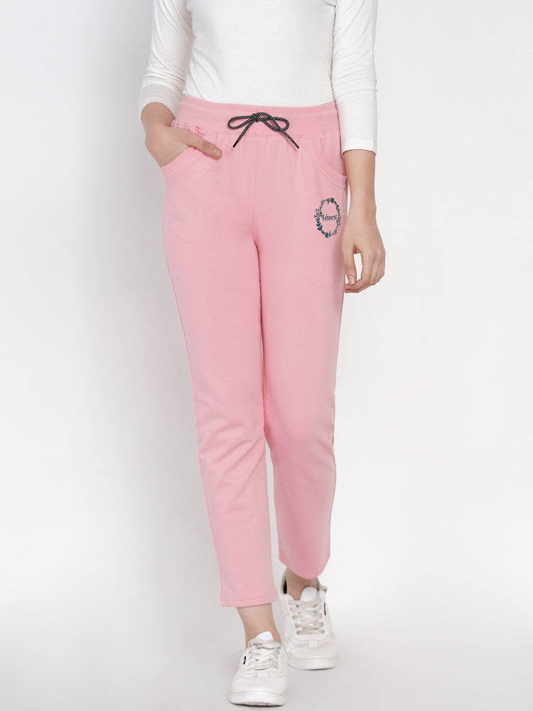 Winter Solid Baby Pink Printed Fleece Track Pants-Track Pants-Fabnest
