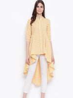 Fabnest womens handloom cotton yellow check assymterical hem long tunic-Tunic-Fabnest