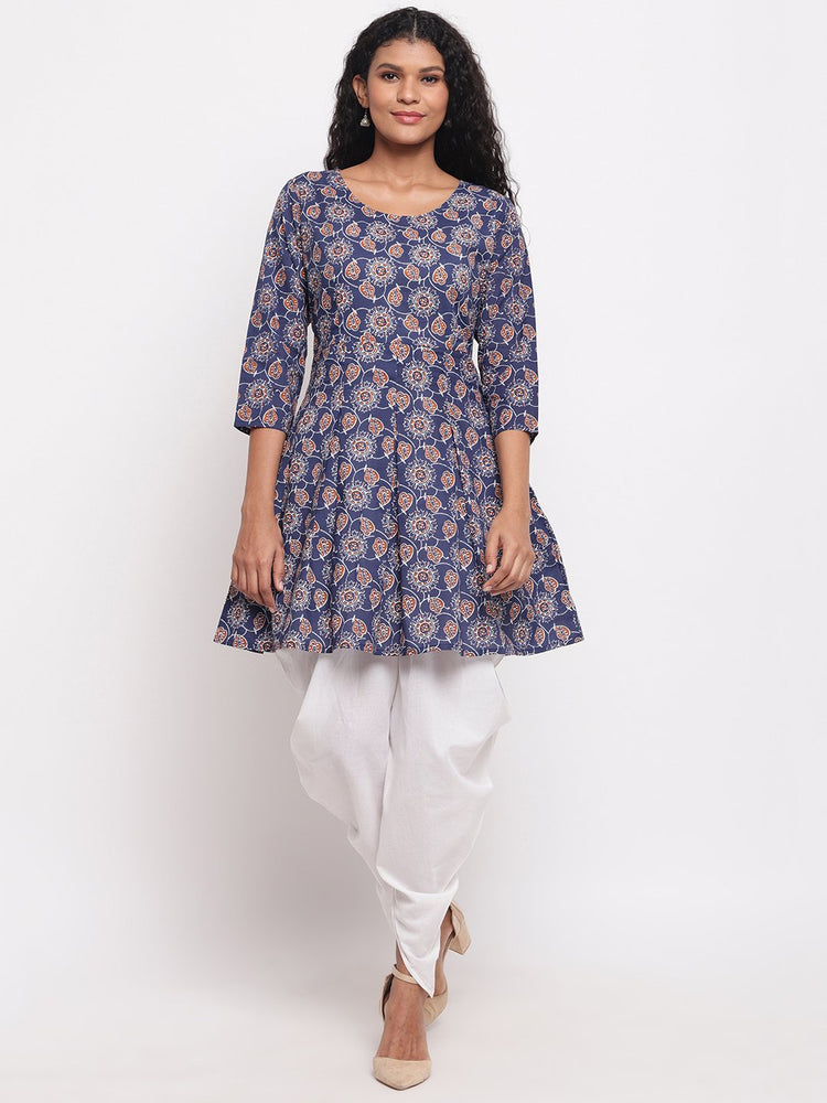 Fabnest womens indigo cotton printed peplum short kurta with white cotton dhoti salwar-Kurta Set-Fabnest