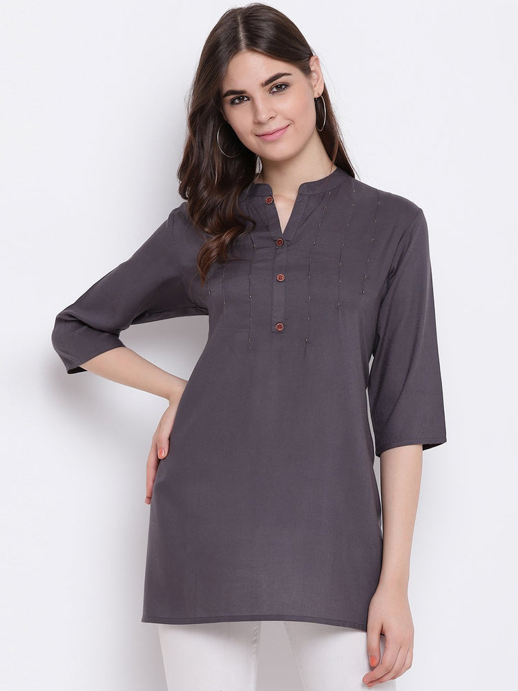 Load image into Gallery viewer, Fabnest womens mustard rayon cut dana short kurta/tunic-Tunic-Fabnest