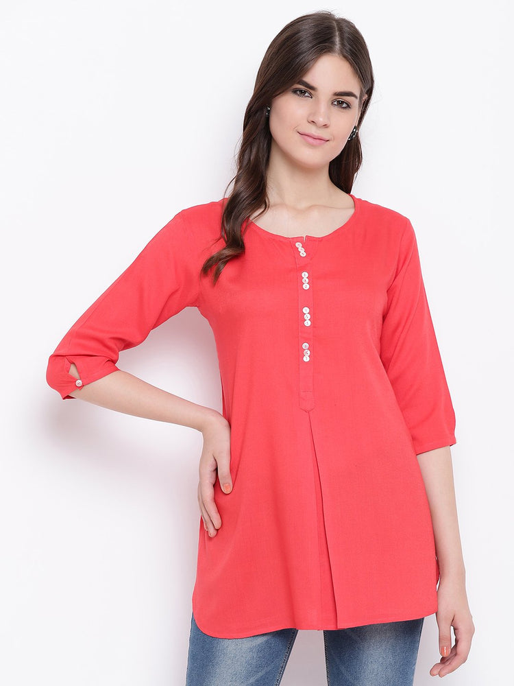 Fabnest womens dark pink rayon inverted pleat short kurta/tunic-Tunic/Kurtis-Fabnest