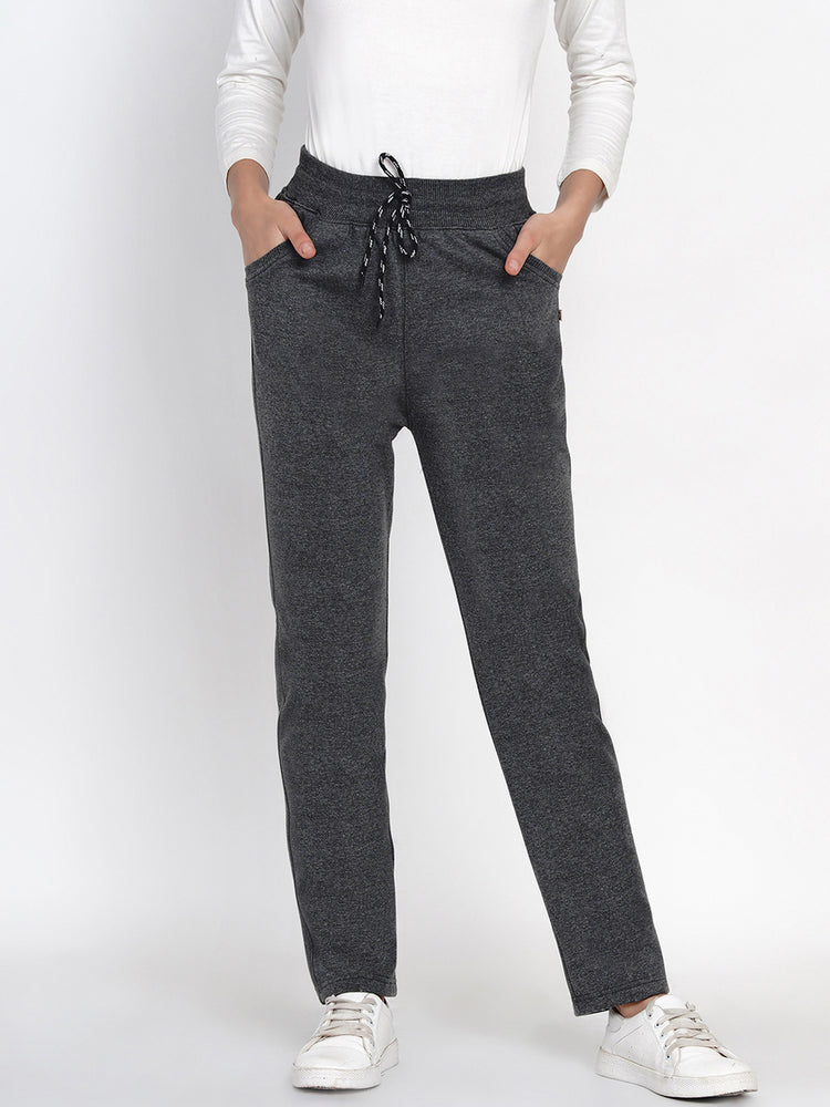 Load image into Gallery viewer, Women Solid Dark Grey Winter Fleece Pants-Jogger pant-Fabnest