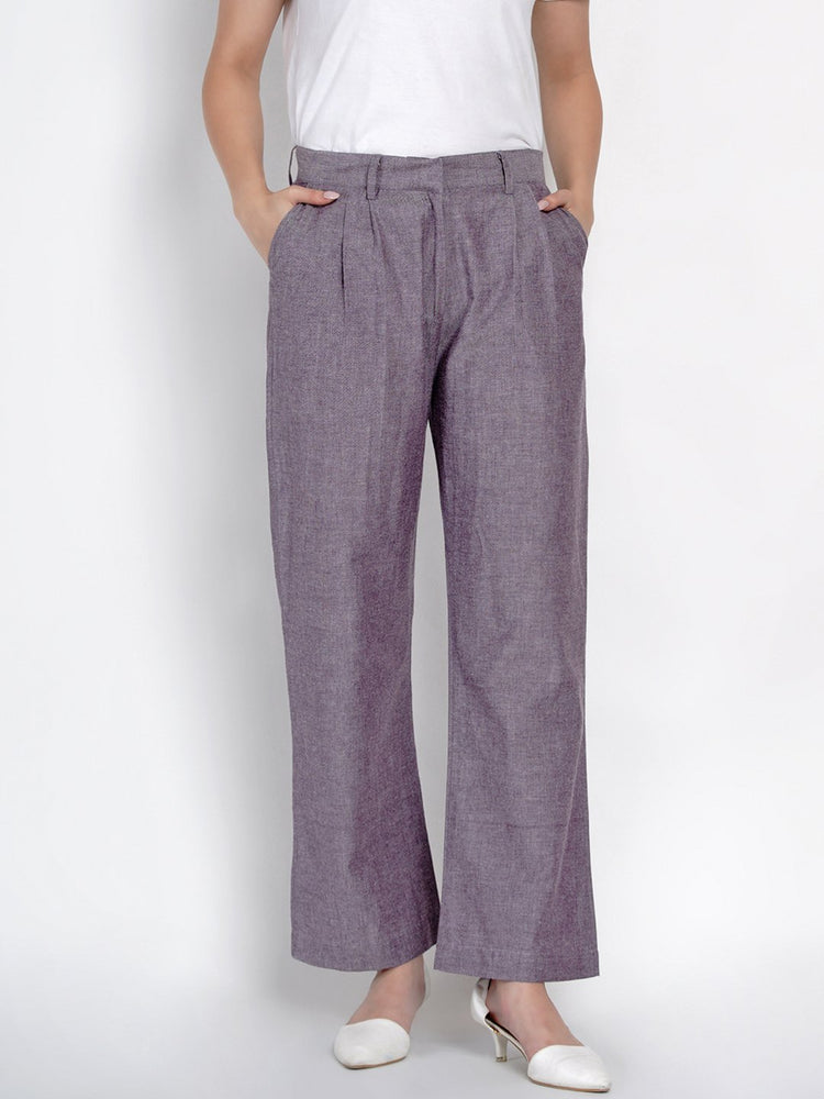 Fabnest Womens Cotton Lilac Chambray Pants-Pants-Fabnest