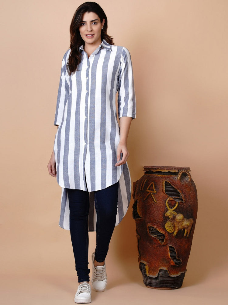 White and blue button down high low tunic with matching mask-Shirt-Fabnest