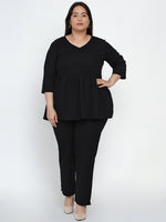 Fabnest Women Cotton flex black peplum top with cigarette pants Set-Co-ords-Fabnest