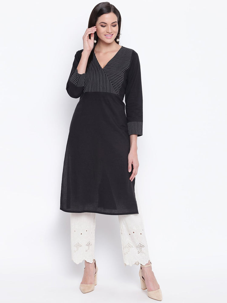 Fabnest womens cotton black straight kurta with v neck topstitch on the yoke.-Kurtas-Fabnest