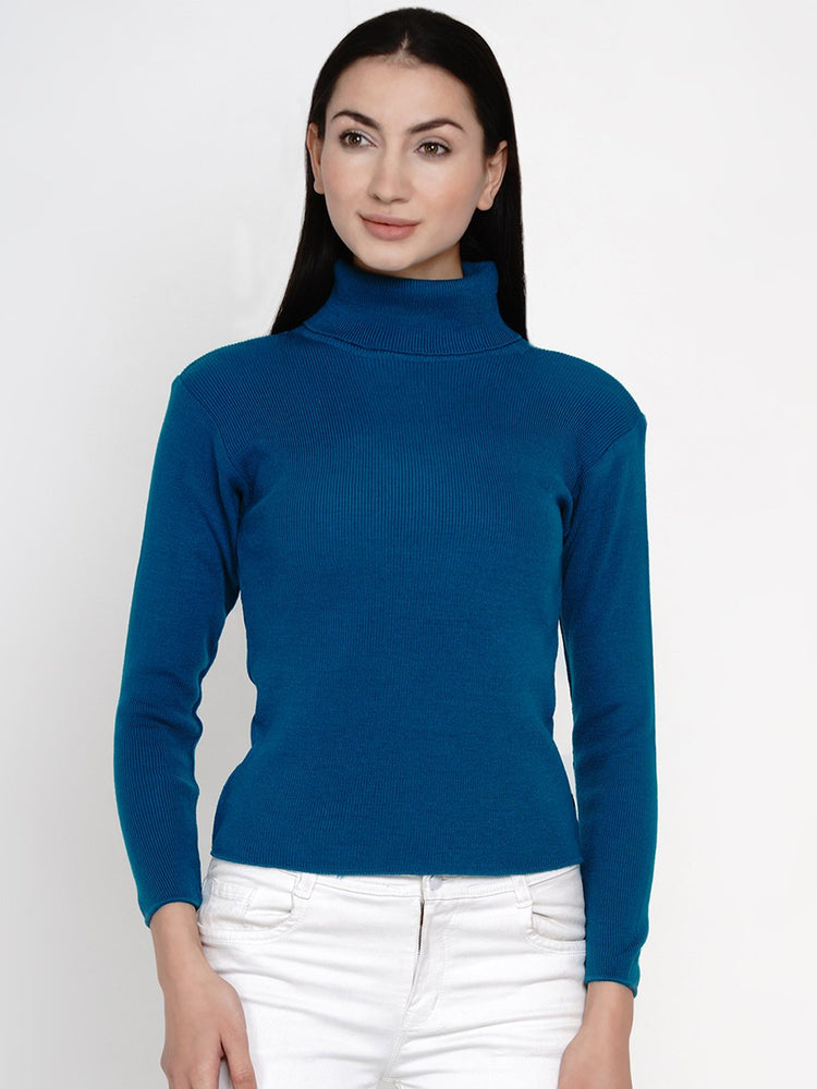 Fabnest Women Winter Turquoise High Neck Sweater-Sweaters-Fabnest