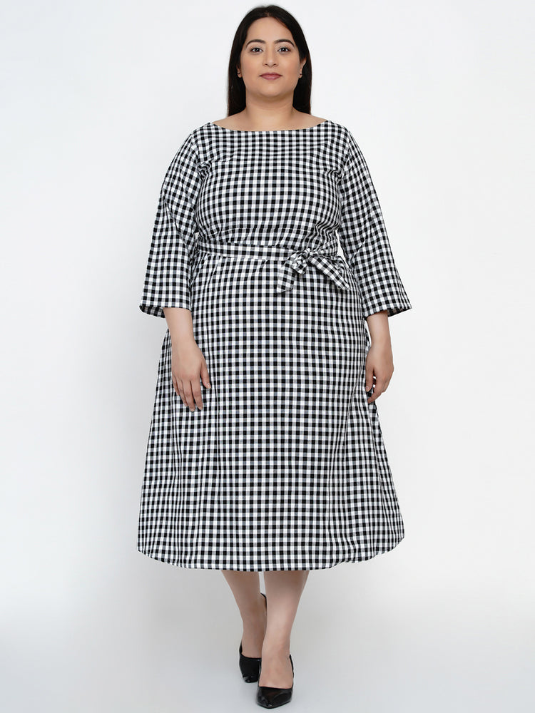 Fabnest Women Black/white cotton check dress with belt-Dress-Fabnest