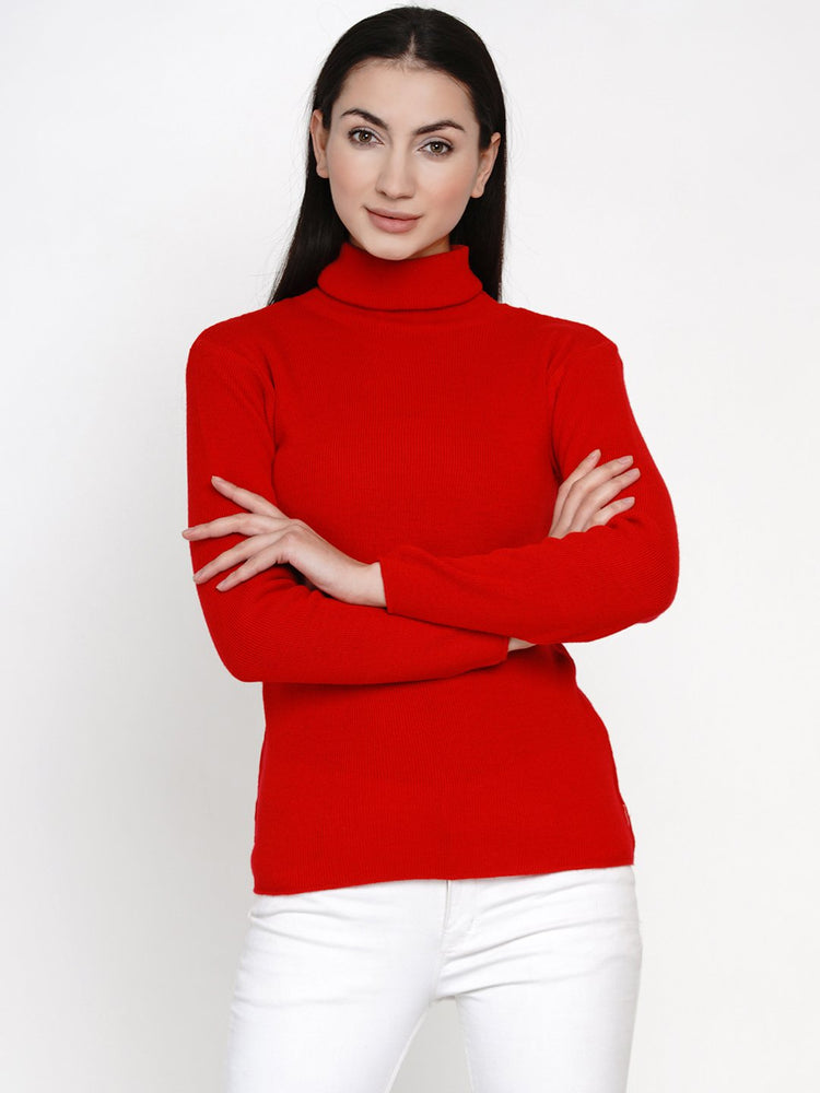 Fabnest Women Winter Red High Neck Sweater-Sweaters-Fabnest