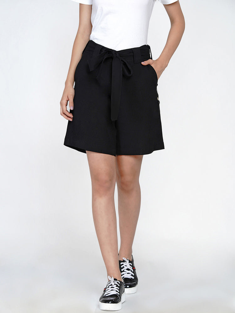 Black cotton flex shorts with side fold tabs-Shorts-Fabnest