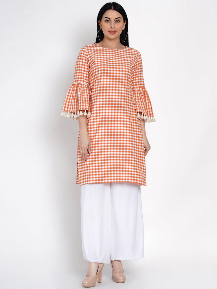 Fabnest Womens Cotton Orange And White Check Kurta With Flounce Sleeve And Tassles-Kurta-Fabnest