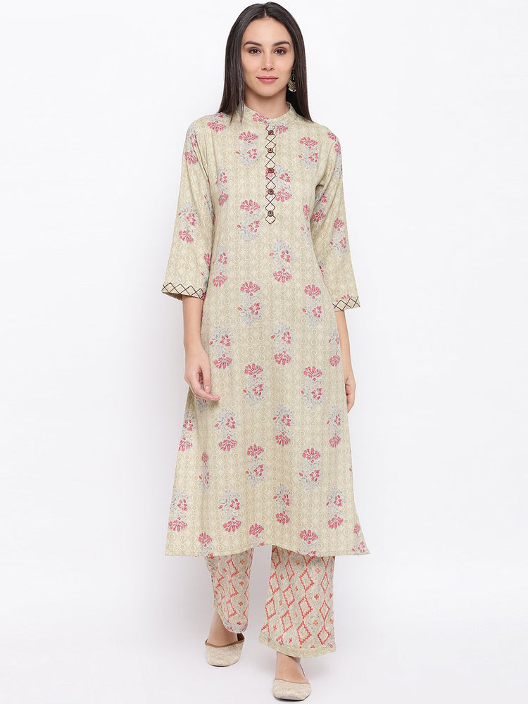 Fabnest women rayon light green printed kurta and pant set with thread detailing on placket and cuff.-Ethnic Set-Fabnest