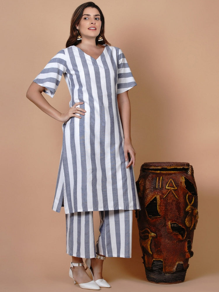 White and blue stripe set of v neck kurta with loose fit pant-Kurta Set-Fabnest
