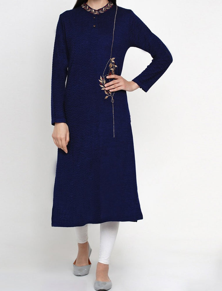 Fabnest Women Winter Acrylic Navy Self Design Embroidered Kurta-Kurta-Fabnest