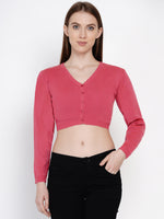 Women Winter Acrylic Pink Crop Top Cardigan-Cardigan-Fabnest