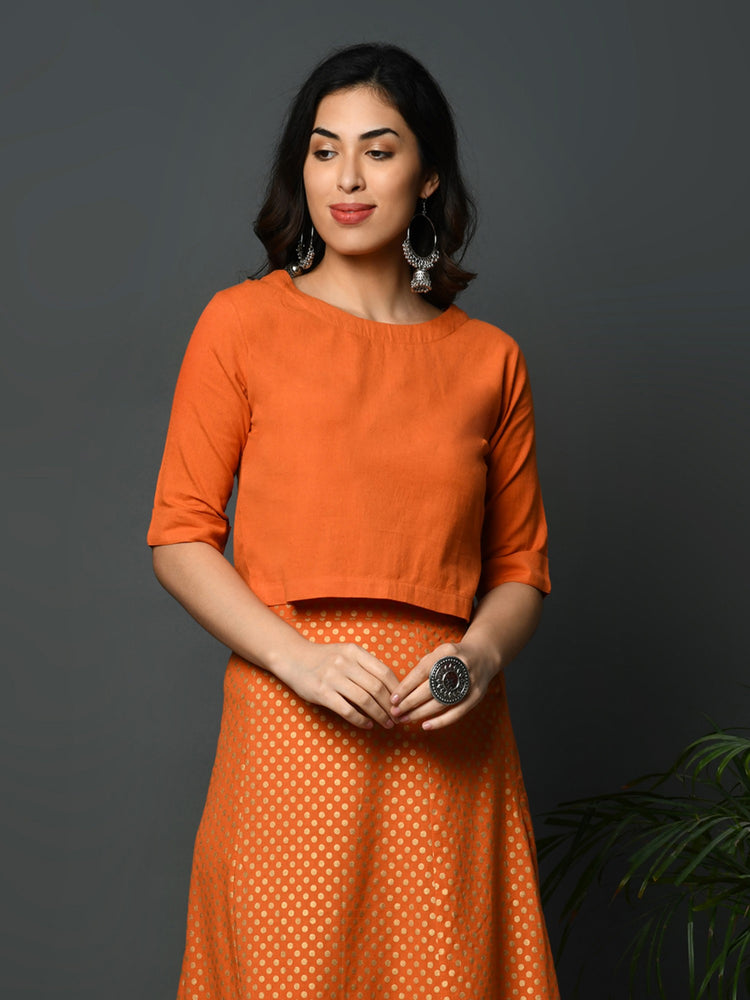Orange flex short sleeved blouse crop top-Top-Fabnest