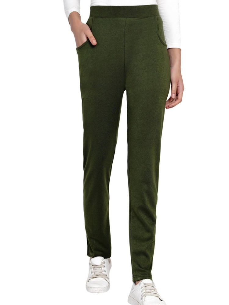 Women Olive Green Solid Track Pants-Track Pants-Fabnest