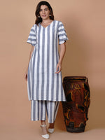 White and blue stripe v neck bell sleeve kurta-Kurtas-Fabnest