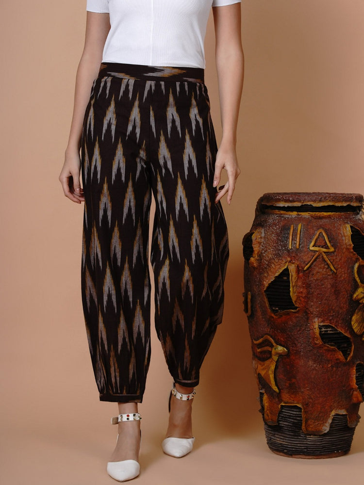 Brown ikat cotton harem pants-Pants-Fabnest