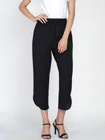 Black cotton flex petal pants-Pant-Fabnest