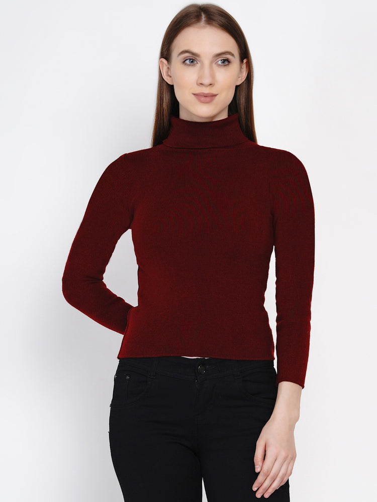 Fabnest Women Winter Acrylic High Neck Maroon Melange Sweater-Sweaters-Fabnest