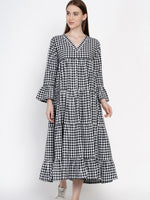 Fabnest women handloom cotton tiered black and white gingham check dress-Dress-Fabnest