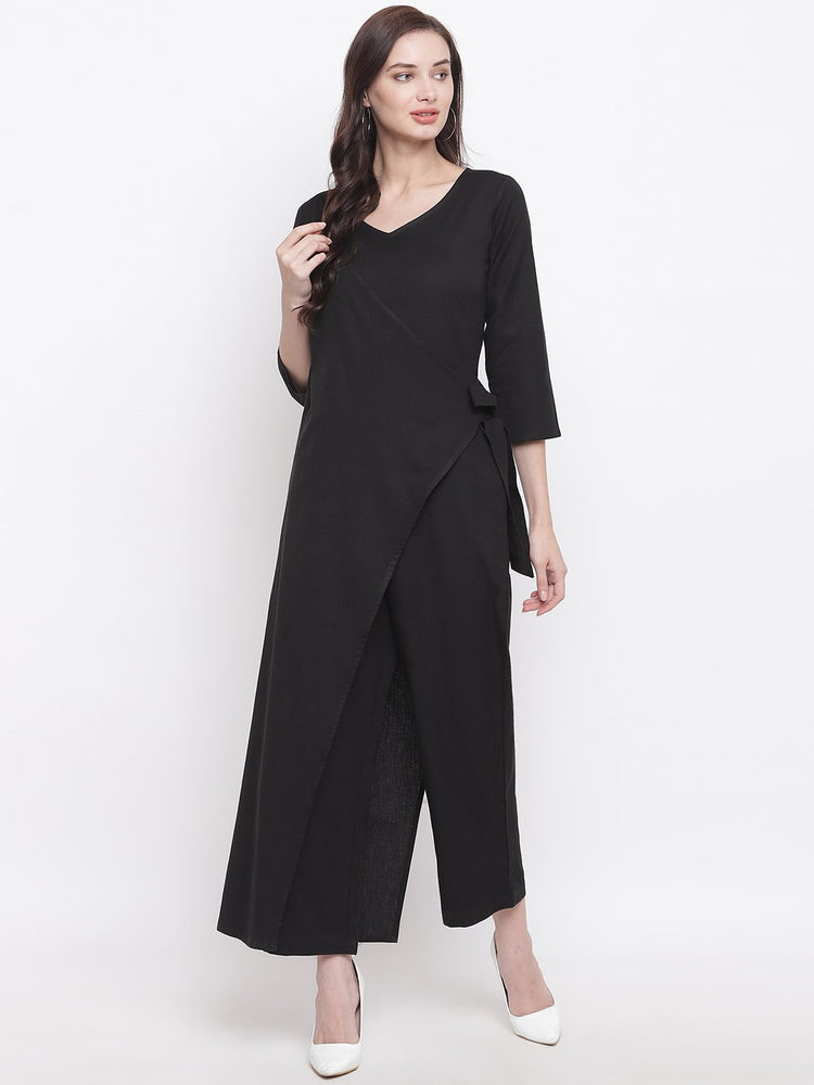 Fabnest womens cotton flex black jumpsuit with an overlap panel-Jumpsuit-Fabnest
