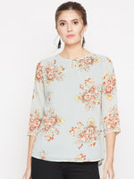 Fabnest women floral top with georgette shell and cotton lining-Tops-Fabnest