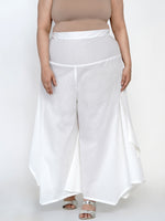 Basic Cotton White Asymmetrical Pant-Pants-Fabnest