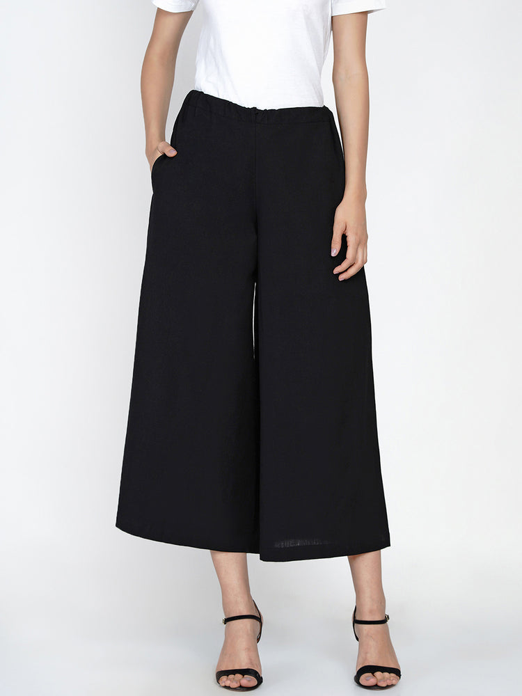 Black cotton flex culotte pant-Pant-Fabnest