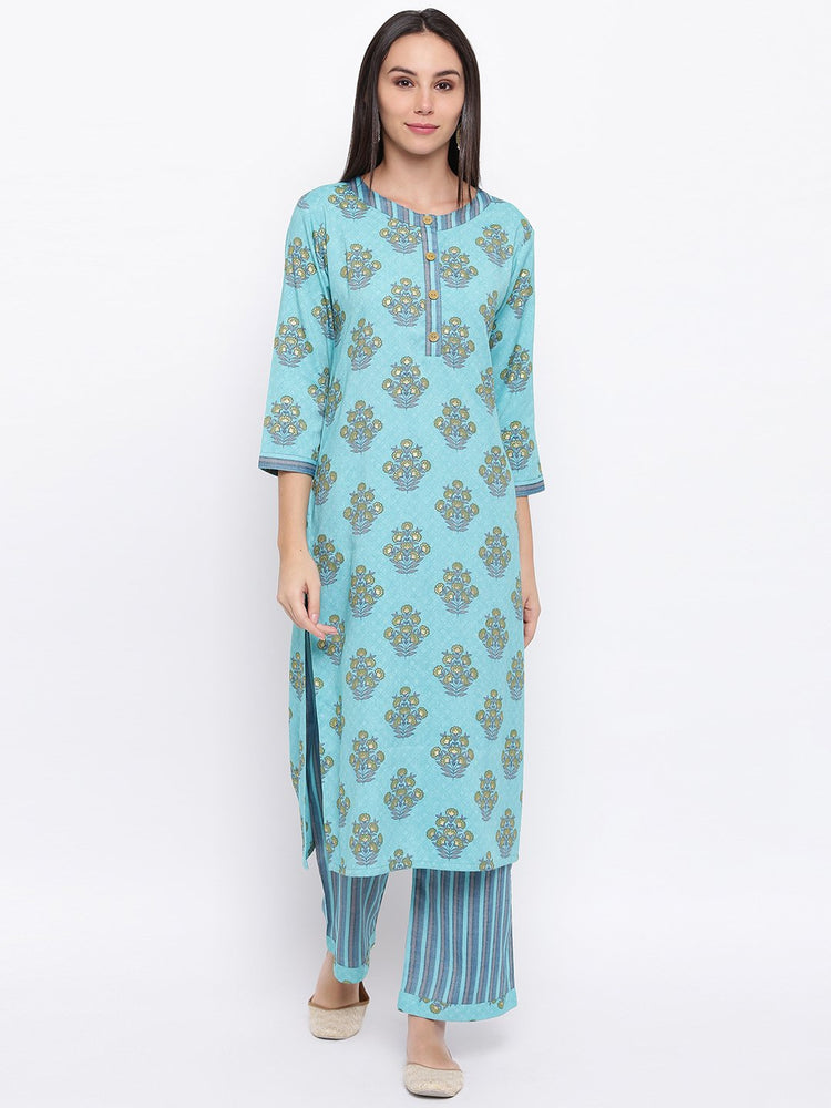 Fabnest womens rayon light blue printed pant and kurta set with round neck and wooden buttons with stripe pants.-Kurta Set-Fabnest