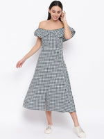 Fabnest womens cotton handloom green and white gingham off shoulder dress-Check Dress-Fabnest