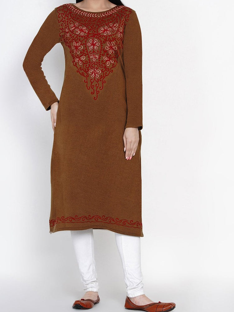 Women Acrylic Brown Aari Embroidery Winter Kurta-Kurta-Fabnest