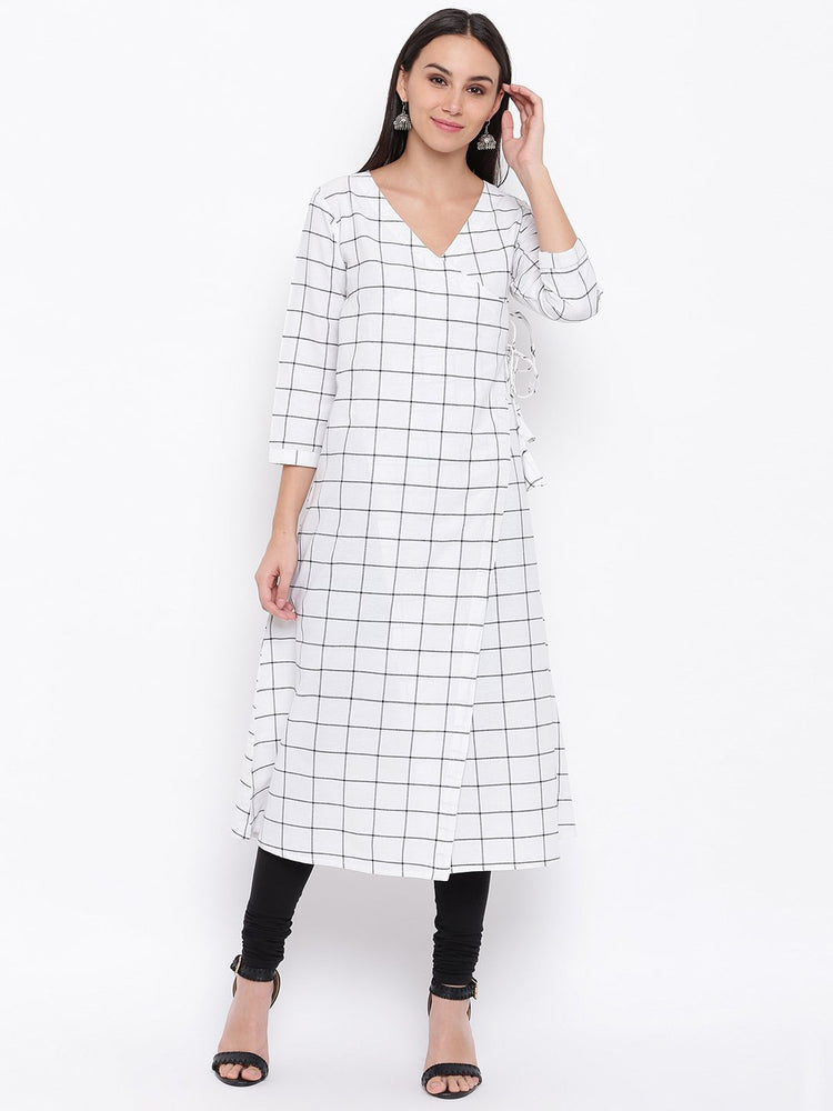 Load image into Gallery viewer, Fabnest womens cotton white check angarkha Kurta-Angarkha Kurta-Fabnest