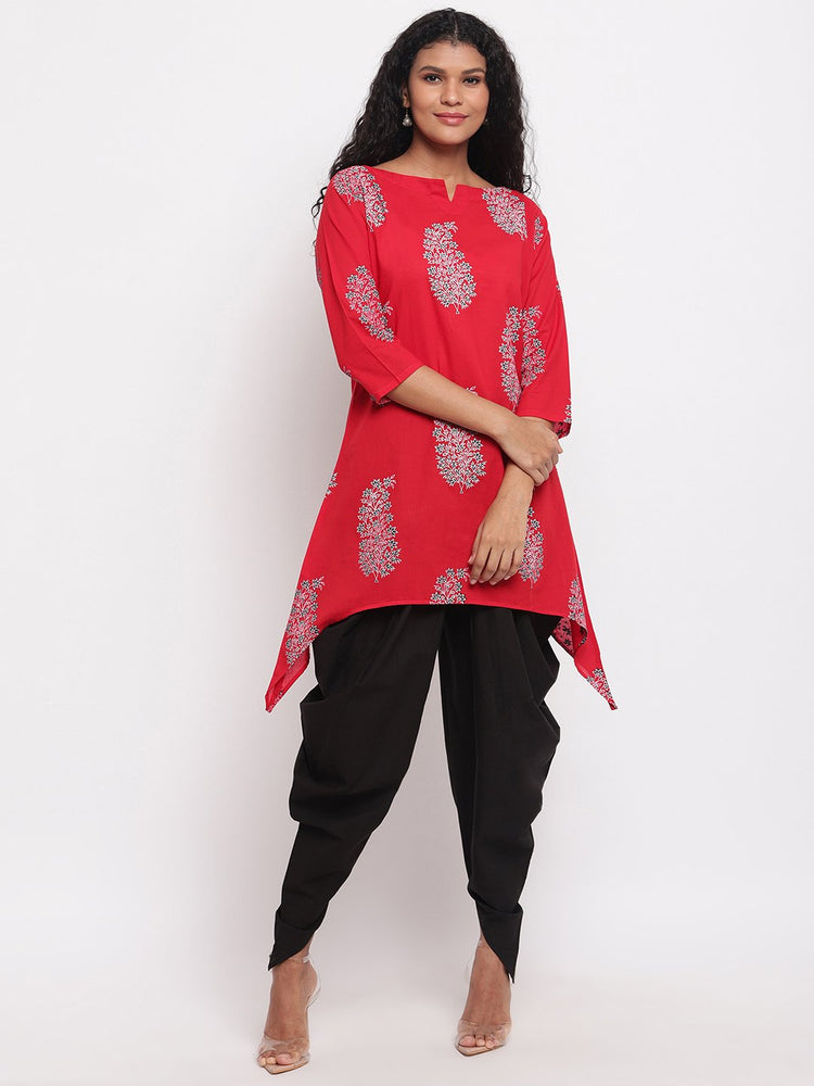 Fabnest womens assymetrical hem red printed cotton kurta-Kurta-Fabnest