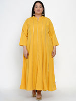 Fabnest Women Anarkali yellow crepe kurta with thin gota accents-Kurtas-Fabnest