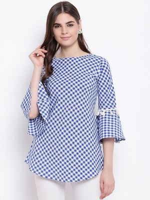 Load image into Gallery viewer, Fabnest womens handloom cotton blue and white bias cut tunic with tassles-Tunics-Fabnest