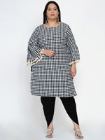 Fabnest Women Black and white check straight kurta with gathered sleeves and lace at its edge-Kurtas-Fabnest