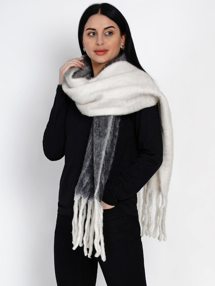 Fabnest Women Wool Blend Double Sided Black And White Winter Scarf-Scarf-Fabnest