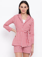 Fabnest Womens Cotton Handloom red and white gingham check tie up shirt/ jacket-Check Jacket-Fabnest