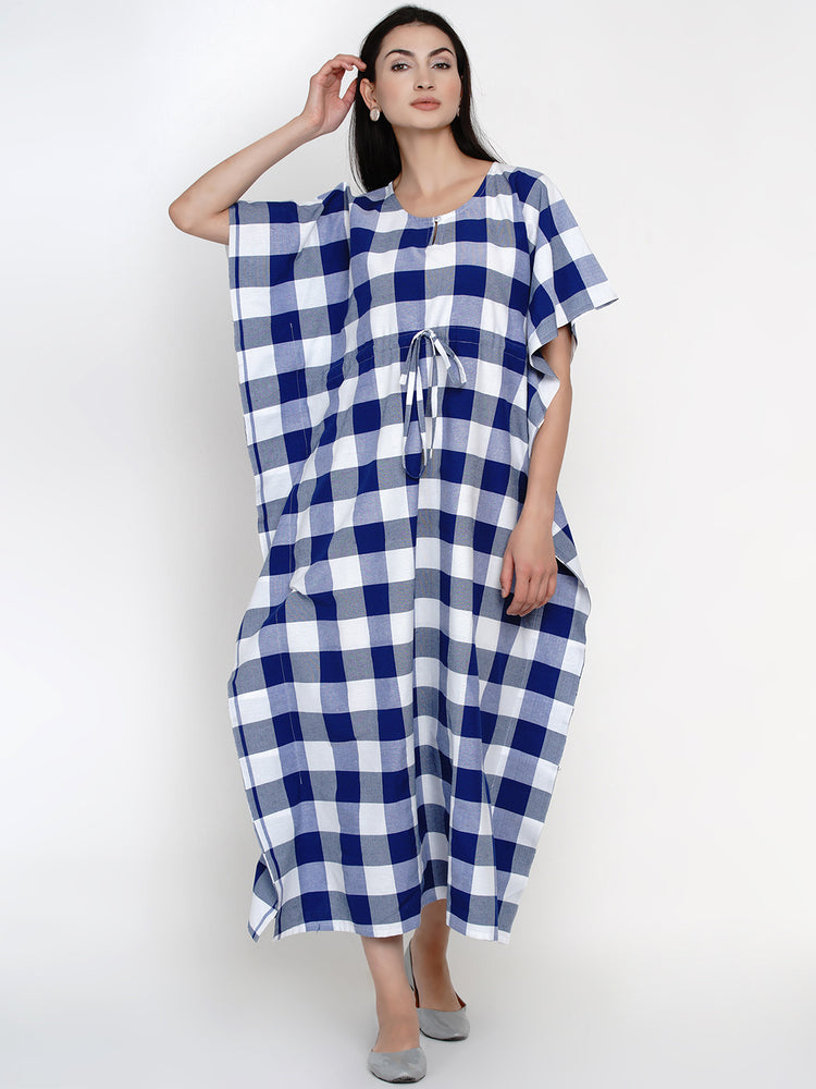 Fabnest women cotton blue & white big check long kaftan-Kaftans-Fabnest