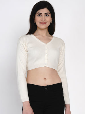 Load image into Gallery viewer, Fabnest women winter acrylic off white crop top cardigan-Crop Top Cardigan-Fabnest
