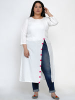Fabnest Women Solid Cream High Slit Kurta-Kurtas-Fabnest