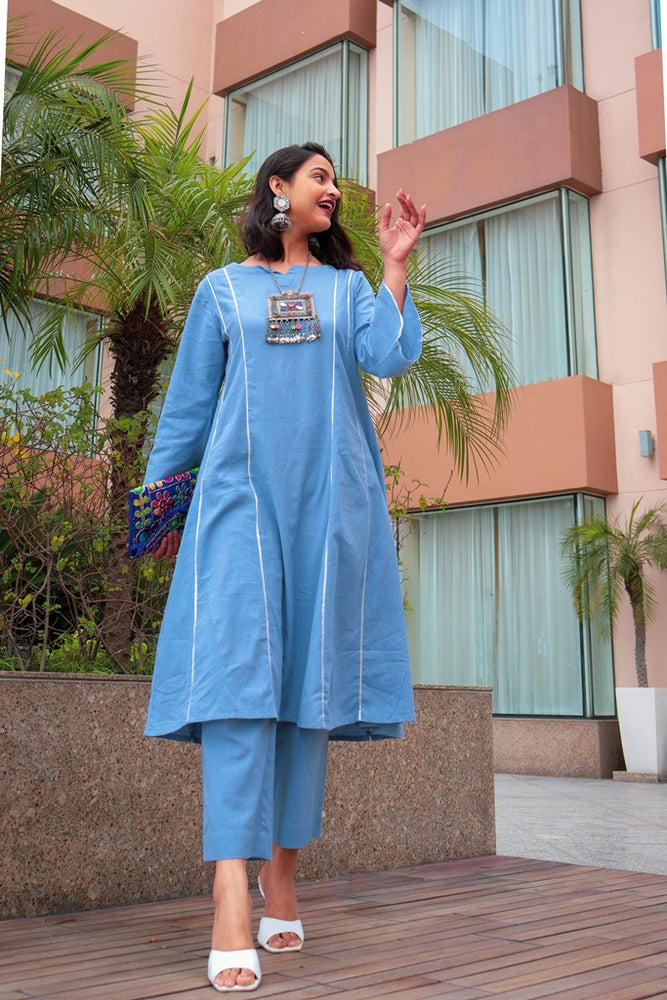 Load image into Gallery viewer, Sapna Rai | Light blue flex A line kurta with gota inserts and bell sleeves and Light blue flex straight pant-Kurta Set-Fabnest