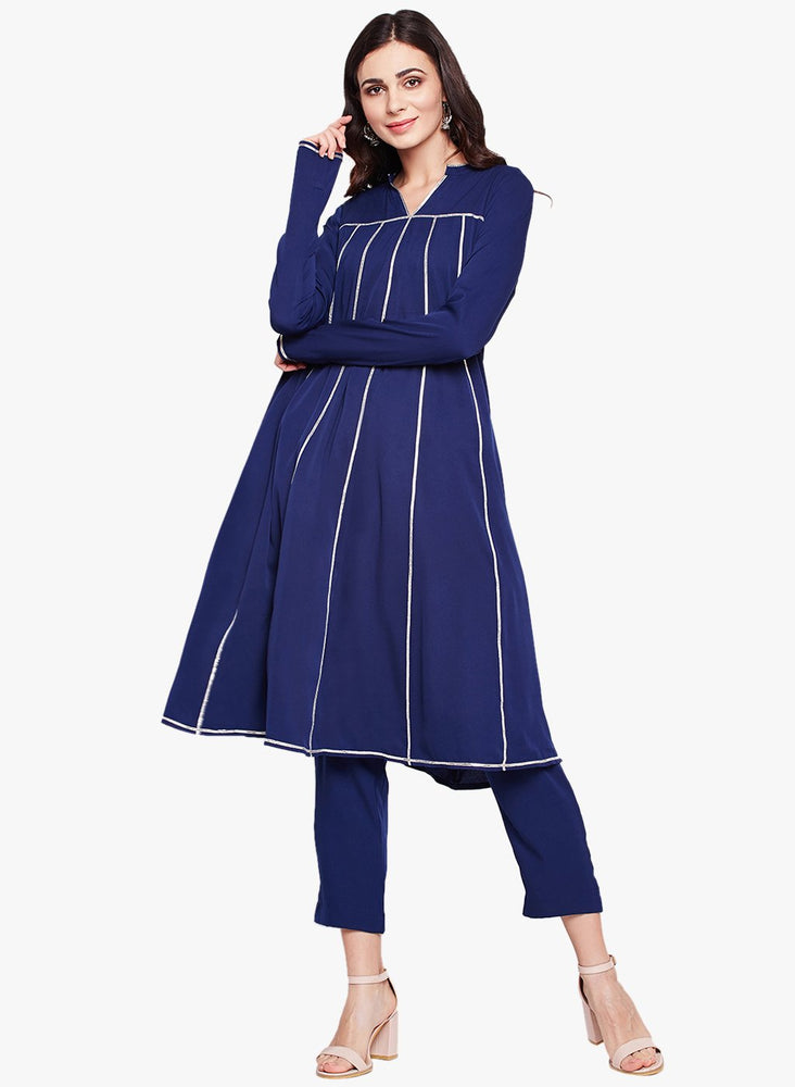 Fabnest womens navy crepe set, kalidar kurta with gota and solid straight pants-Kurta Set-Fabnest