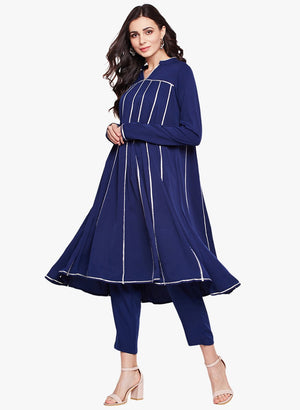 Load image into Gallery viewer, Fabnest womens navy crepe set, kalidar kurta with gota and solid straight pants-Kurta Set-Fabnest