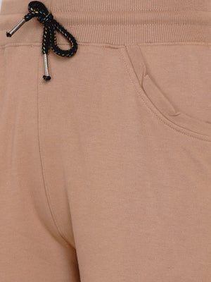 Load image into Gallery viewer, Women Loop Knit Beige Solid Track Pant-Track Pants-Fabnest