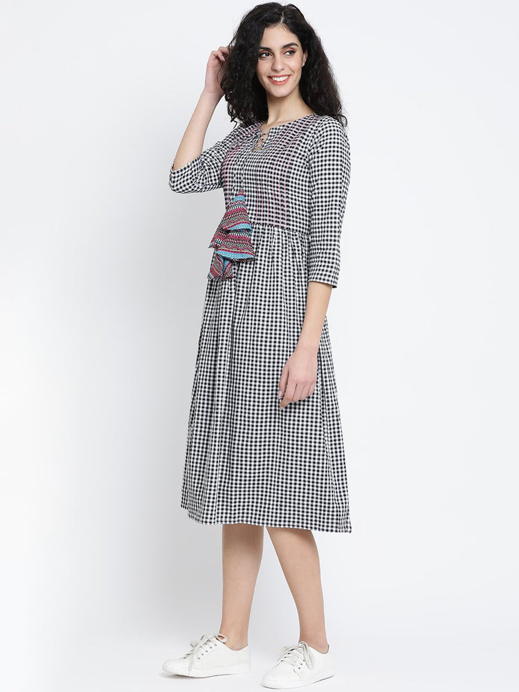 Load image into Gallery viewer, Fabnest Black and White Check Cotton Women Dress With Pintucks, Top Stitch and Colourful Tassles-Dress-Fabnest